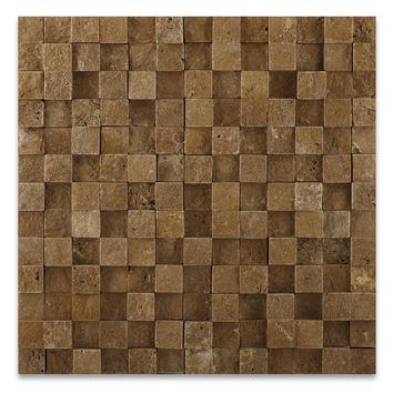 1 X 1 Noce Travertine HI-LOW Split-Faced Mosaic Tile