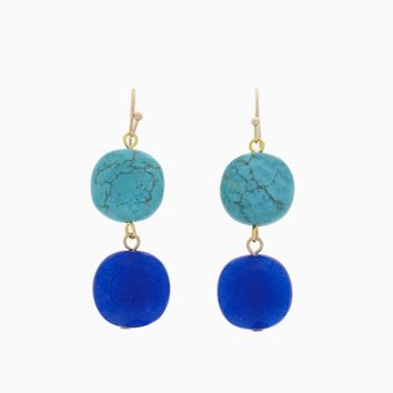 Blue Turquoise Stone Drop Earring
