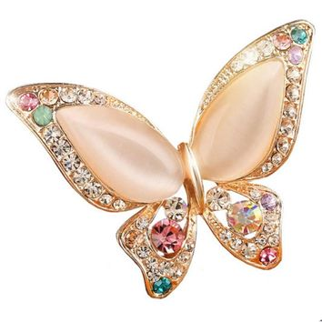 Colorful Opal Rhinestone and Crystal Butterfly Brooch