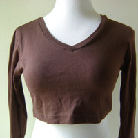 90s Crop Top Brown Long Sleeve Hipster Boho Blouse Vintage Clueless Crop Shirt Size S/M Small Medium 1990s Grunge Revival Boho Summer Top
