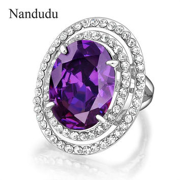 Nandudu Womens Fashion Little Crystals Rings With Big Purple Amethyst Ring Gold GP Women Girl Jewelry Gift R1775