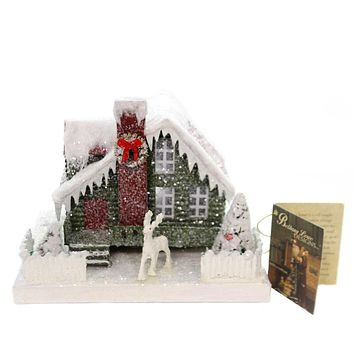 Christmas VINTAGE PUTZ CHRISTMAS HOUSE MD Paper Lighted Lc4588 Red