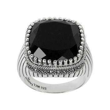 Lavish by TJM Sterling Silver Onyx Ring — Made with Swarovski Marcasite (Black)