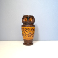 Large Mid Century Bitossi Carta Fiorentina Brown and Yellow Owl