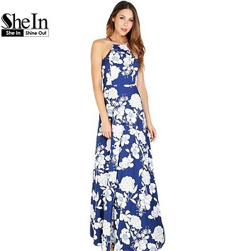 SheIn Womens Summer Maxi Dresses New Arrival Ladies Boho Dress Sleeveless Blue Halter Neck Floral Print Vintage A Line Dress