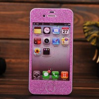 Fashion Pink Shiny Rhinestone Fashion Sticker For iPhone 4S/5