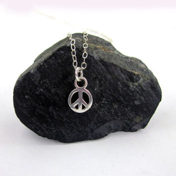 Tiny Peace Sign Necklace, Peace Necklace, Peace Jewelry, Yoga Jewelry, Peace, Charm, Yoga, Gift for her, Layering Necklace, Disco Lemonade