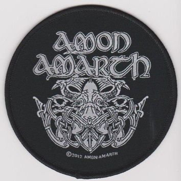 Amon Amarth Iron-On Patch Round White Odin Logo