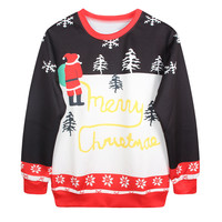 Casual Print Christmas Ugly Christmas Sweater Couple Hoodies [9440723460]