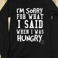 SORRY I WAS HUNGRY BLACK LONG SLEEVE TEE T SHIRT T