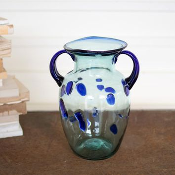 Small Recycled Glass Melon Vase With Handles & Blue Dots