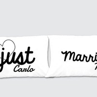 Just Married Matching Pillow Cases - Awesome Gift for cute couples - Price is for 2 Pillow cases