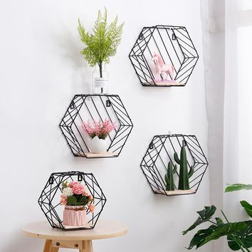 Hexagonal Wrought Iron Wall Shelf