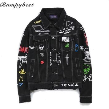 2017 Jeans Jacket Men Women Streets DOODLE Denim Coat Male Motorbike Jean Coat Jackets Asian Size