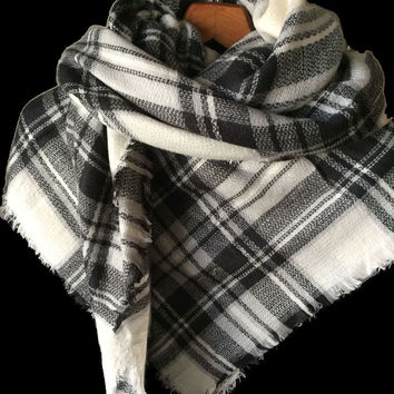 "Cashmere Blanket Scarf Plaid SO SOFT Large Square  55"" x 55"" New in Package"