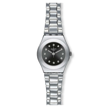 Swatch YSS279G Women's Be Surprised Irony Black Dial Stainless Steel Watch