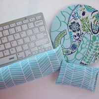 Elephant blue Mouse pad set - mouse wrist rest - keyboard rest - coworker gift, teacher gift, under 50, office accessories, cubical decor