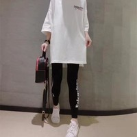 balenciaga women fashion casual wave stripe letter print middle sleeve leggings set two piece sportswear 2