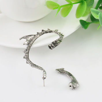 New Silver Dragon Snake Ear Cuff Clip Wrap Lure Stud Earrings Gothic Punk Gift