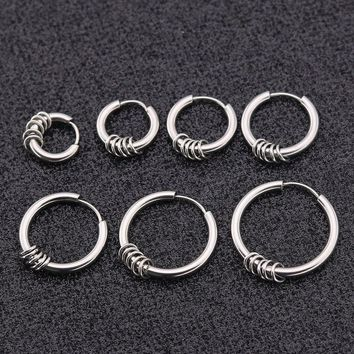Trendy Punk Gothic Stainless Steel Simple Round Shaped 5 circle Stud Earrings for Men Ear Jewelry Gift