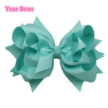 1PC 2016 5Inches Hair Bows 3 Layer Solid Aqua Blue Boutique Ribbon Bows Hair Clips Girls Toddler Baby Bows Hair Accessories