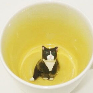 Fluffy Black Tuxedo Cat Surprise Mug