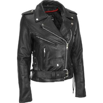 Leather King Leather Classic Asymmetrical Cycle Jacket - Leather - Women's - Wilsonsleather - Categories - Wilsons Leather