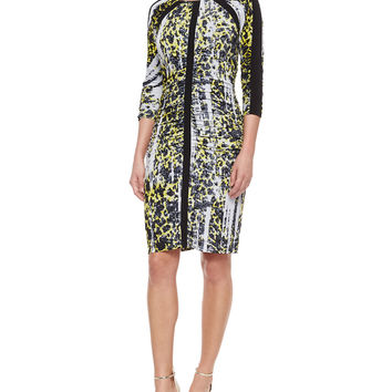 3/4-Sleeve Leopard-Print Ruched