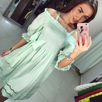 Women summer dress hot sale 2016 cute style Slash neck  lantern sleeve solid color dress high quality