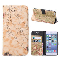 Khaki World Map Leather Wallet iPhone Cases for 5S 6 6S Plus Free Shipping