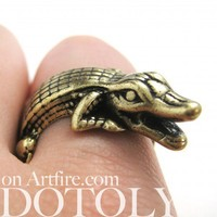 Miniature Crocodile Wrap Ring in Bronze - Sizes 7 to 9 Available | dotoly - Jewelry on ArtFire