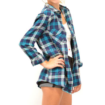 Cabin Sleepover Teal Blue Flannel Shirt