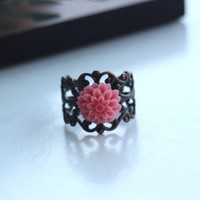Cipriana   Pink Mum Flower on Antique Style Copper by Marolsha