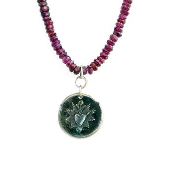 Sacred Heart Wax Seal Charm and Leather Necklace