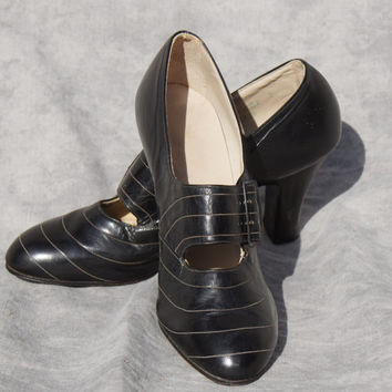 Authentic, 1920's, Black Leather, Flapper, Prohibition,  Shoes Women's 6