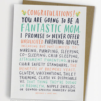 Unsolicited Parenting Advice Baby Card, Funny Baby Card, New Mom Card / No. 243-C