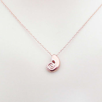 Ariel, Rose gold, Seashell, Necklace, Lovers, Best friends, Mom, Sister, Gift, Accessory, Jewelry