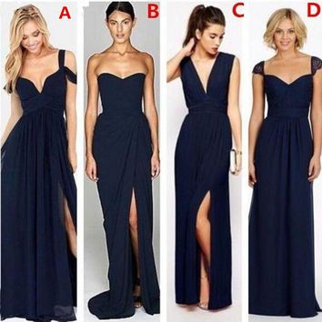 Vestido de Festa de Casamento Long Navy Blue Bridesmaid Dresses Prom Dress Different Styles Robe Demoiselle D'honneur