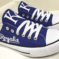 Custom KANSAS CITY ROYALS Women's & Men's Low Tops Canvas Tennis Shoes