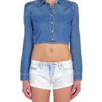 Blank NYC Cropped Denim Shirt - Pussy Foot