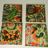 Medieval Art Ceramic Coasters Assorted Medieval  Renaissance  Designs Tile Drink Coasters Set Four Sublimated Drink Coasters Handmade