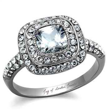 A Perfect 1.6CT Asscher Cut Double Halo Russian Lab Diamond Engagement Ring