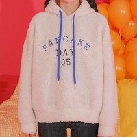 Buy icecream12 'PANCAKE' Contrast-String Sherpa-Fleece Hoodie | YesStyle
