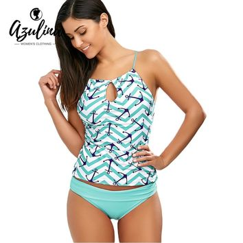 AZUILINA New Anchor Print Keyhole Backless Tankini Swimsuit Female Cut Out Swimwear Women Padded Bathing Suit Biquini Beach Wear