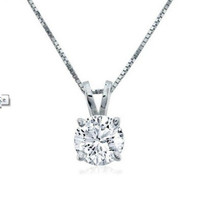 1/2ct  Diamond Solitaire Pendant set in 14K White Gold with 18 inch Box Chain
