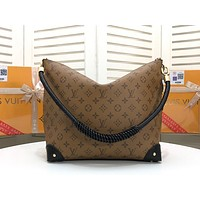 """""""LV"""" Louis Vuitton Classic large-capacity printed zipper double-sided portable shopping bag shoulder bag"""