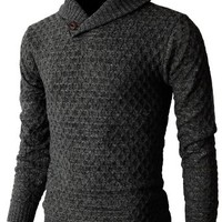 H2H Men's Knit Pullover Long Sleeve Hexagon Patterned Sweater
