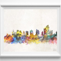 Manaus Skyline, Watercolor, Brazil, Poster, Brazilian, Print, Cityscape, City Painting, Illustration Art Paint, Wall, Home Decor [NO 621]