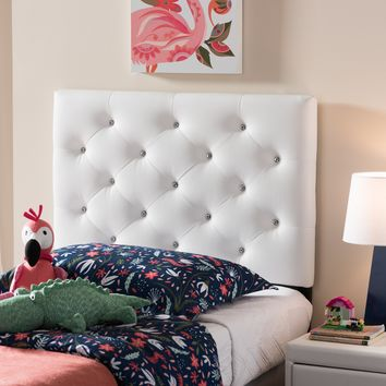 Baxton Studio Viviana Modern and Contemporary White Faux Leather Upholstered Button-Tufted Twin Size Headboard  Set of 1