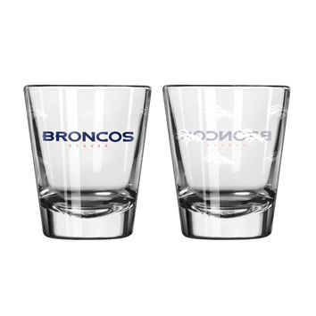 Denver Broncos Shot Glass - 2 Pack Satin Etch